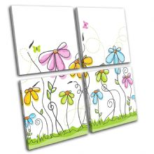 Abstract Pastel Flowers Floral - 13-1860(00B)-MP01-LO